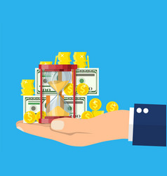 money with hourglass clock in hand vector image
