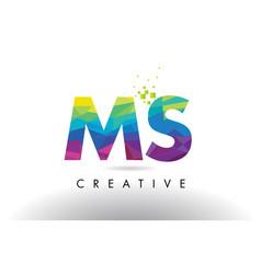 Ms m s colorful letter origami triangles design vector