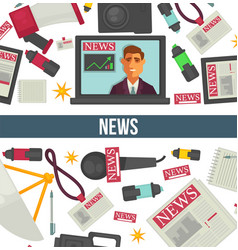 news broadcasting and mass media television vector image