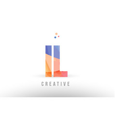 Orange blue alphabet letter il i l logo icon vector