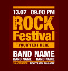 orange rock festival poster design template vector image