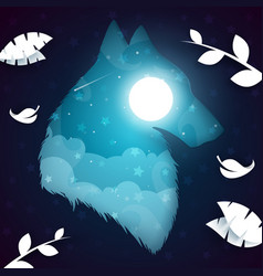 Paper wolf dog nightlandscape vector