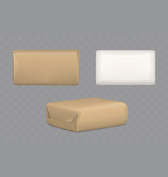 Parcel packages wrapped to brown and white paper vector