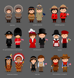People in national dress united kingdom canada vector