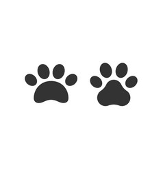 pet paw print icon dog or cat foot black vector image