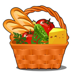 Picnic wicker basket with food product fresh vector