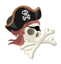 Pirate skull in hat and crossed bones isolated vector