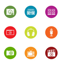 Play video icons set flat style vector