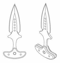 Push dagger colored outline only vector
