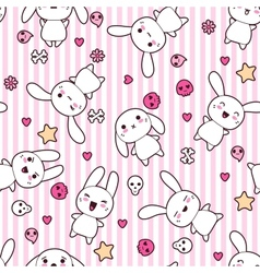 Rabbit Doodle Cartoon pattern vector image