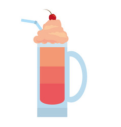 Red fruit smoothie cold cream vector