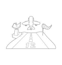 Runway icon outline style vector image