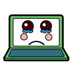 Sad laptop kawaii icon image vector