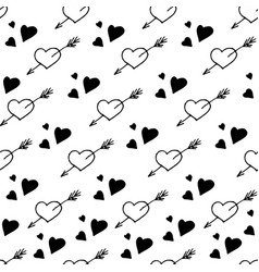 seamless pattern with hearts stylish vector image