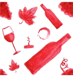 Seamless watercolor pattern with wine stuff on the vector