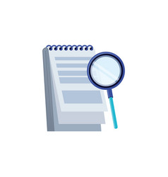 Search magnifying glass with notepad vector