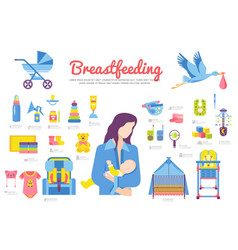 Set breastfeeding and childhood objects icons vector