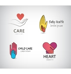set hand logos care vector image