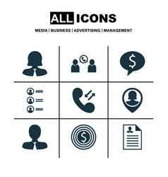 set of 9 hr icons includes business deal vector image