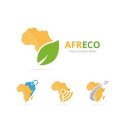 Set of africa logo combination safari and eco vector