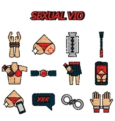 Sexual vio flat icons set vector image