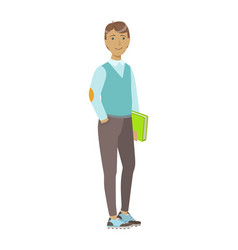 Smiling college student standing and holding book vector
