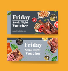 Steak voucher design with grilled meat pepper vector