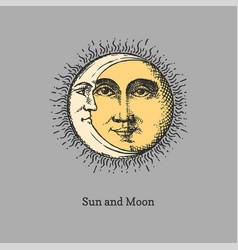 Sun and moon hand drawn in engraving style vector