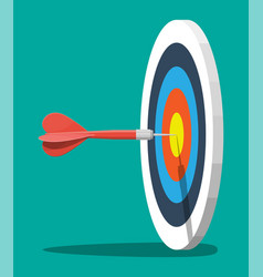target on wooden tripod with dart arrow in center vector image