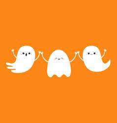 Three ghost set line happy halloween spirit vector