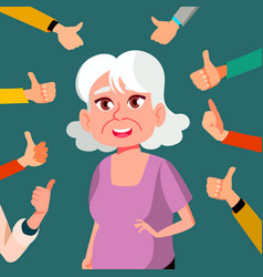 Thumbs up old woman public approval a lot vector
