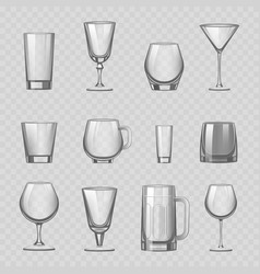 Transparent empty glasses and stemware drinks vector