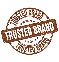 trusted brand brown grunge round vintage rubber vector image