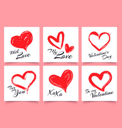 valentines day greeting card with hand drawn vector image