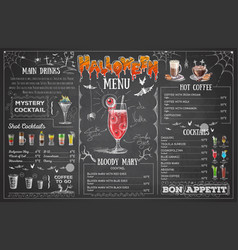 vintage chalk drawing halloween menu design vector image