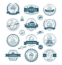 vintage set cupcake and bakery labels vector image