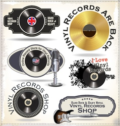 Vinyl records labels vector