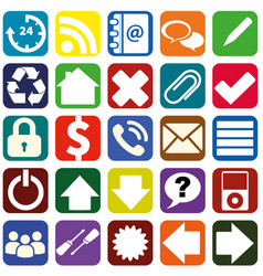 Webpage icons collection color interfaces vector