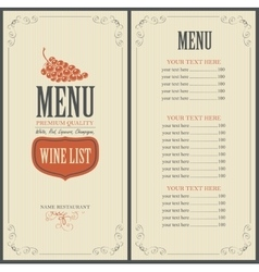 wine list with grapes vector image