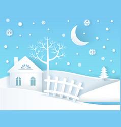 winter placard calm village vector image