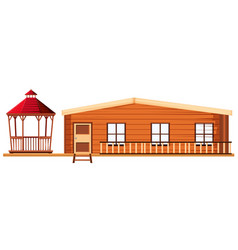 Wooden cottage and pavilion vector