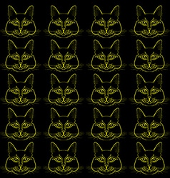 Yellow silhouettes of heads of cats vector image