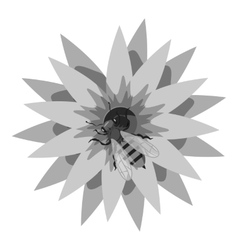 Bee on flower icon gray monochrome style vector