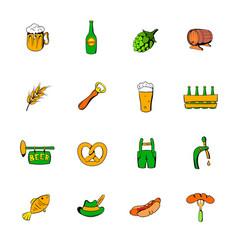 oktoberfest set icons set cartoon vector image