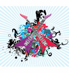 rock and roll guitar design vector image vector image