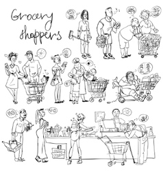 Set of grocery shoppers hand sketching vector image vector image
