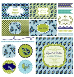 Vintage Peacock Party Set vector image