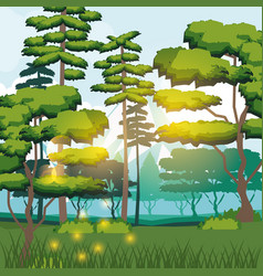 colorful background of forest landscape in the vector image