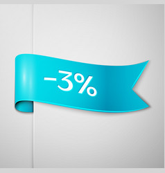 cyan ribbon with text three percent for discount vector image