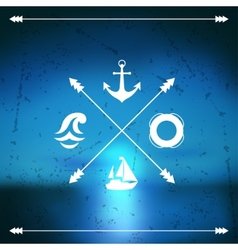 Design postcard with marine label and symbol vector